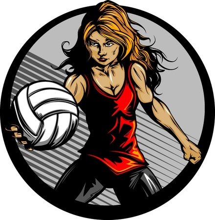 Volleyball Sport Girl and Ball Cartoon Illustration Vector