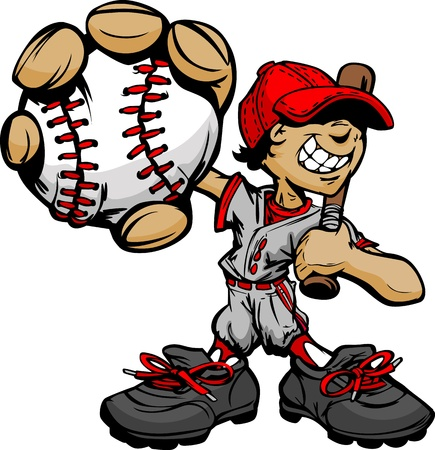 Baseball Boy Cartoon Player with Bat and Ball Illustration Vector