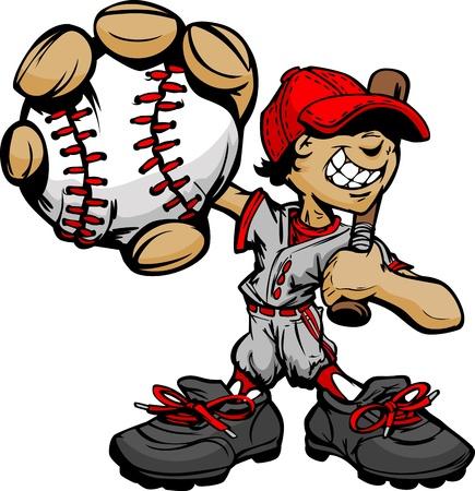 Boy Béisbol jugador de dibujos animados con el bate y bola de Ilustración