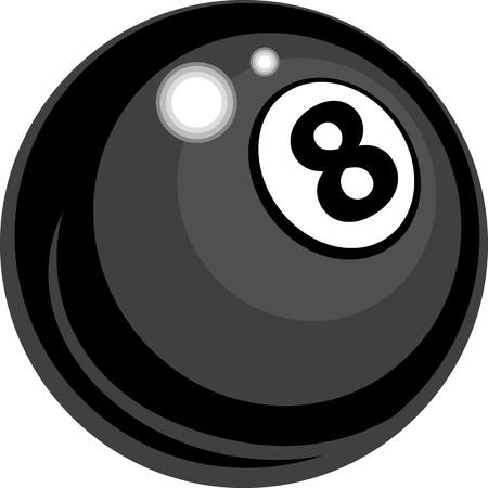 bola ocho: Billar o la piscina de ocho bolas Ilustración