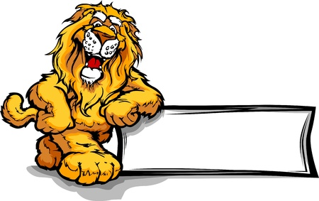 cartoon mascot: Lion Head Smiling Mascot Leaning on a Sign Vector Illustration