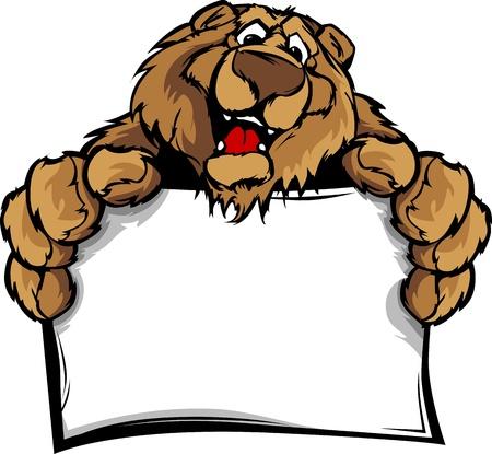 oso: Tener la cabeza mascota sonriente sosteniendo Ilustraci�n Iniciar sesi�n Vectores
