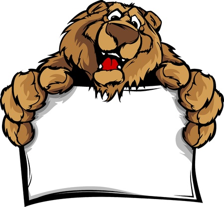 Bear Head Smiling Mascot  Holding Sign Illustration
