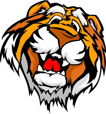 high school sports: Tiger Mascot with Cute Face Cartoon Image Illustration