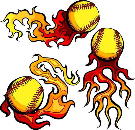 Flaming Graphic Softball Sport Image with Flames Vector
