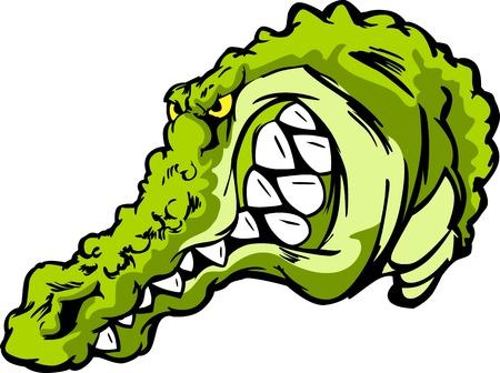 cocodrilo: Imagen de la mascota de dibujos animados de un caimán o cocodrilo Vectores
