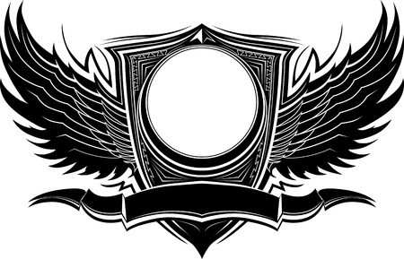 Ornate Wings and Badge Illustration Template Ilustracja