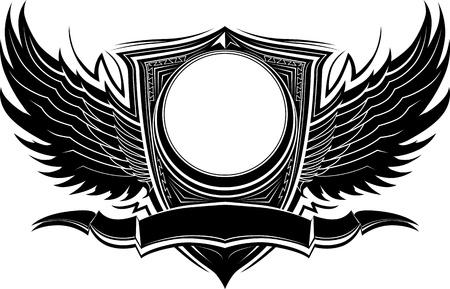 Sierlijke Wings en Badge Illustratie Template