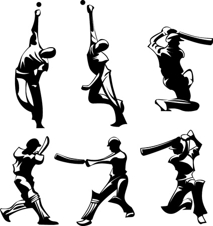 cricket:  Images of Cricket Players Silhouettes Throwing and Hitting Ball Illustration