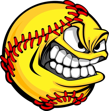 Cartoon Fastpitch Softball with Mean Face