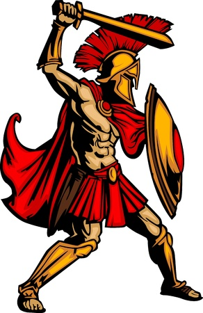 Greek Spartan or Trojan Soldier Mascot holding a shield and sword Stock Illustratie
