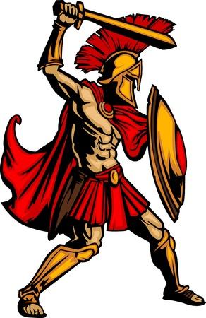 spartano: Spartan greco o Soldier Mascot Trojan regge uno scudo e spada