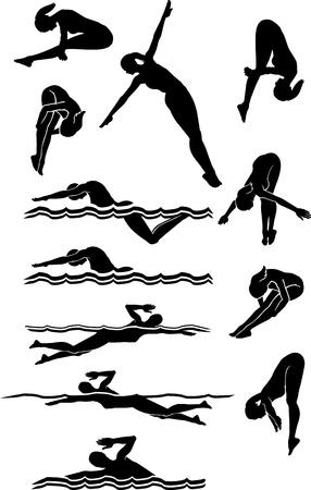 Vrouw Zwemmen en duiken Silhouetten Stock Illustratie