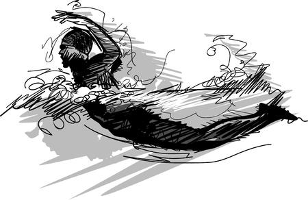 Afbeelding van een zwemmer Sketch Silhouette Stock Illustratie