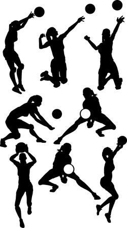 Beelden van Vrouw Volleybal Silhouetten Spiking en instellen Ball