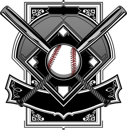 야구 방망이, 야구, 그리고 홈 플레이트 또는 화려한 필드 벡터 그래픽 일러스트