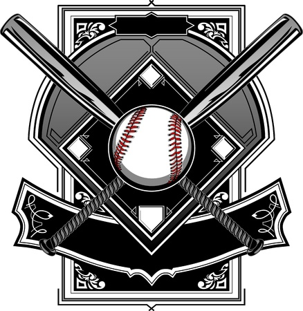 Baseball Bats, Baseball, and Home Plate or Ornate Field Vector Graphic Illustration