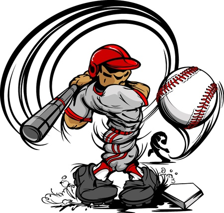 hitting: Baseball Player Cartoon con mazza e palla illustrazione vettoriale Vettoriali