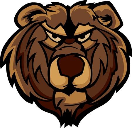 Illustration of a Growling Bear Head Graphic Mascot Vector  Illustration