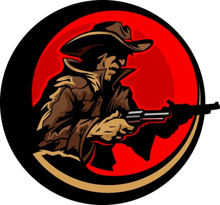 rustler: Graphic Mascot Image of a Cowboy Shooting Pistols