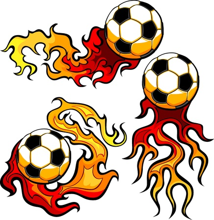 fiery: Flaming Soccer Ball Vector burning with Fire Flames