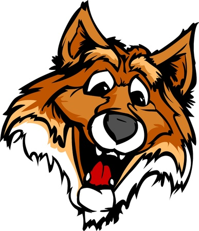 high school sports: Fox Mascot with Cute Face Cartoon Vector Image