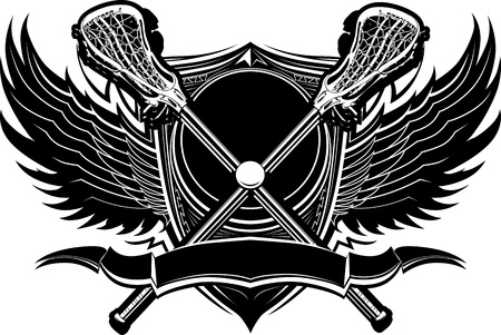 Crossed Lacrosse Sticks and Ball with Ornate Wing Borders Vector Graphic Stock Illustratie
