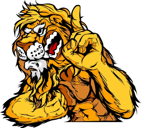 Cartoon Vector Mascot Image of a Lion Flexing Arms and Holding up Champion Finger Stock Illustratie