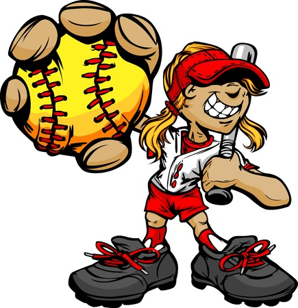 Softbol Lanzamiento Rápido Chica de dibujos animados jugador con el bate y pelota Ilustración Vector