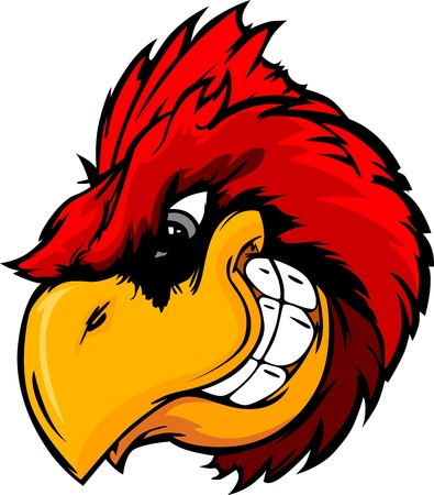 Cartoon Vector Mascot Image of a Cardinal or Red Bird Head Vettoriali