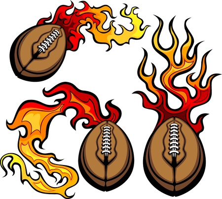 Flaming American Football Ball Vector burning with Fire Flames Vector