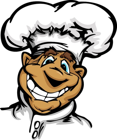 big hat: Restaurant Chef or Cook Mascot with Happy Smiling Face Wearing Chefs Hat Cartoon Vector Image