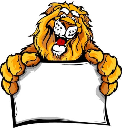 Lion Head Smiling Mascot Halten Anmelden Vector Illustration Standard-Bild - 13208850
