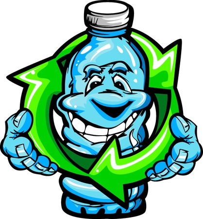 recycling: Cartoon Vector Image of a Happy Smiling Plastic Water Bottle Holding an Environmentally Friendly Recycling Symbol