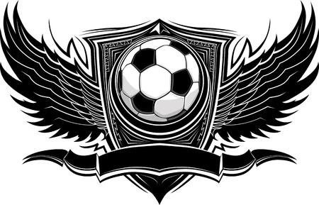 ballon foot: Ballon de soccer avec Ornate Wing fronti�res graphique vectoriel