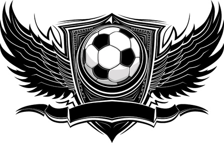 Soccer Ball with Ornate Wing Borders Vector Graphic