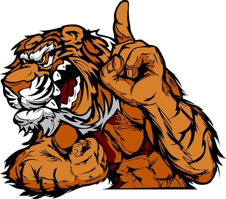 wrestler: Cartoon Vector Mascot Image of a Tiger Flexing Arms and Holding up Champion Finger
