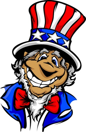 Uncle Sam on July 4th Mascot with Happy Smiling Face Wearing Stars and Stripes Hat Cartoon Vector Image Vector