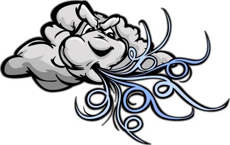 vent: Windy Mascot Ciel orageux avec mena�ant image souffle du vent �lev�e Vecteur de bande dessin�e