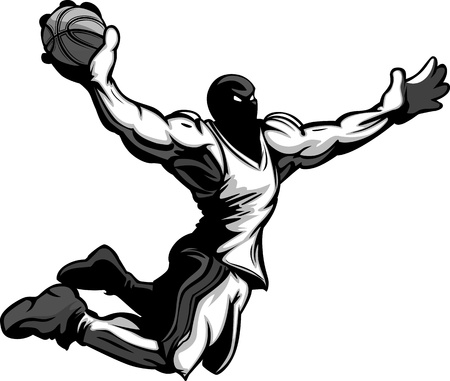 Cartoon Vector Image of a Basketball Player Slam Dunking Basketball Vettoriali
