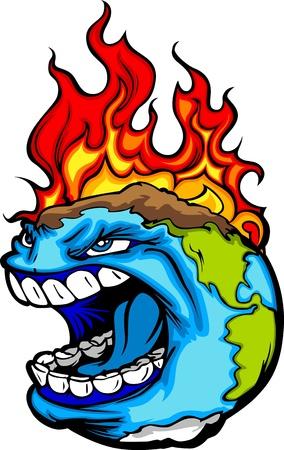 calentamiento global: Imagen vectorial de dibujos animados de un planeta Tierra Gritando con las llamas que experimentan desastres Calentamiento Global Environmental Vectores