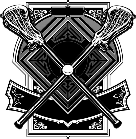 lacrosse: Lacrosse Sticks Equipment, and Ball on Ornate Vector Graphic