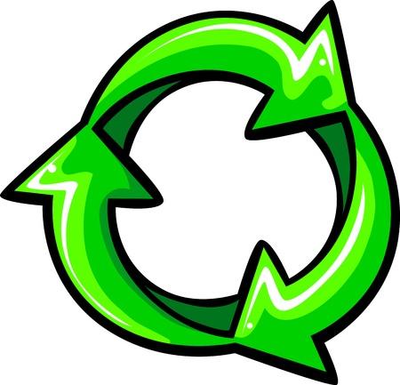 Graphic Vector Illustration of Green Recycle Arrows Ilustração