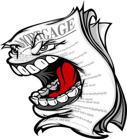 Imagen vectorial de dibujos animados de una ejecución hipotecaria Screaming que representa la crisis de la vivienda y la crisis financiera
