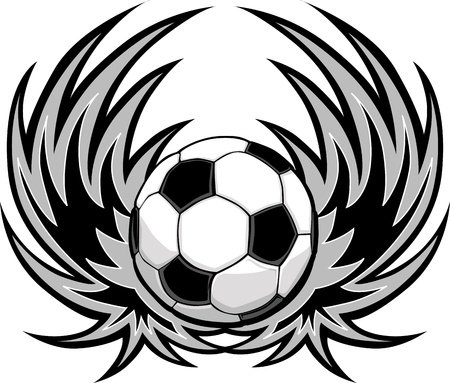 soccer balls: Graphic Soccer ball image template with wings