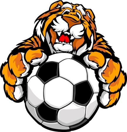 Graphic Mascot Vector Image eines freundlichen Tiger mit Pfoten auf einem Fußball Standard-Bild - 13326033