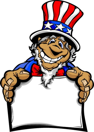 Uncle Sam op 4 juli Mascot met Happy lachend gezicht dragen van Stars and Stripes Hat en met een bordje Cartoon Vector Stock Illustratie