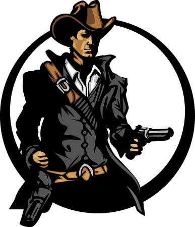 six shooter: Graphic Mascot Image of a Cowboy Shooting Pistol