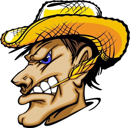 köylü: Straw Hat ile Çiftçi Grafik Maskot Görüntüsü