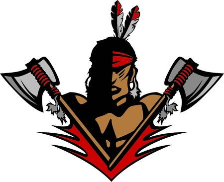 native american: Graphic Native American Indian Brave Mascot with tomahawks and Feathers